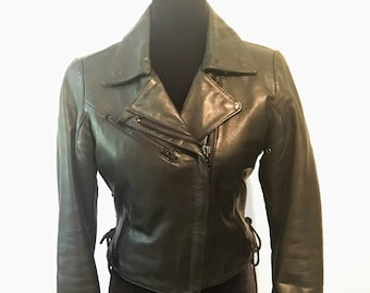 1980s Women's Leather Motorcycle Jacket