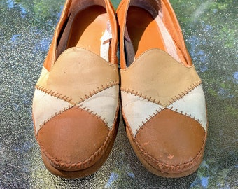 Vintage Brown and Tan Slip On Shoes