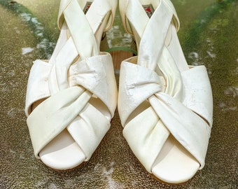 Vintage White Sling Back Heeled Sandals