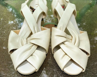 Vintage Beige Sling Back Heeled Sandals