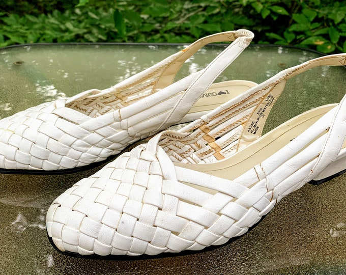 Featured listing image: Vintage White Woven Sling Back Heels