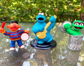 1982 Sesame Street Mini Collectible Ernie, Cookie Monster and Oscar the Grouch Set