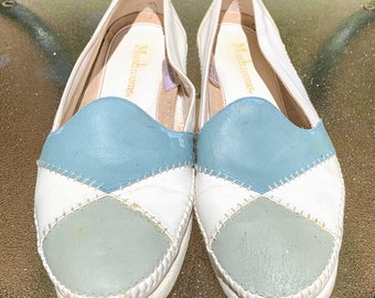 Vintage White and Blue-Grey Slip On Shoes