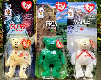 1999 TY Teenie Beanie Baby International Bears McDonald's Happy Meal Toys