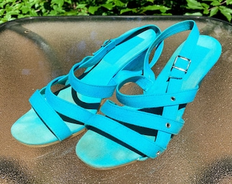 Vintage Teal Wedge Sandals