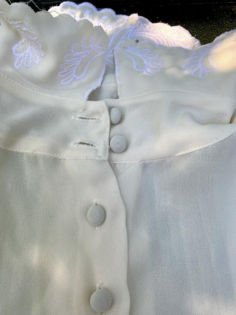 Vintage Karen Scott Sheer Ivory Long Sleeve Buttoned Blouse