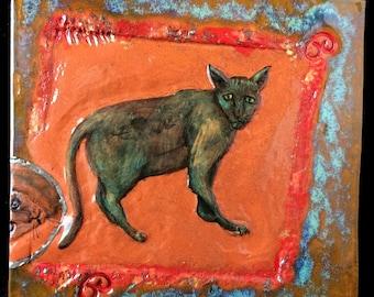 Ceramic cat tile, decorative tile, rustic ceramic, ceramic art, OOAK, quirky ceramic, hand painted, cat art, ceramic tile, cat art, unusual