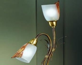 Hand Forged Italian Table Lamp with Venetian Glass, Table Lamp, Desk Lamp