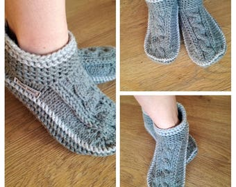 d54ac73ef401e0 Knitted slipper boots womens slippers womens slipper boots slipper  boots gray slippers slippers for women crochet wool slippers
