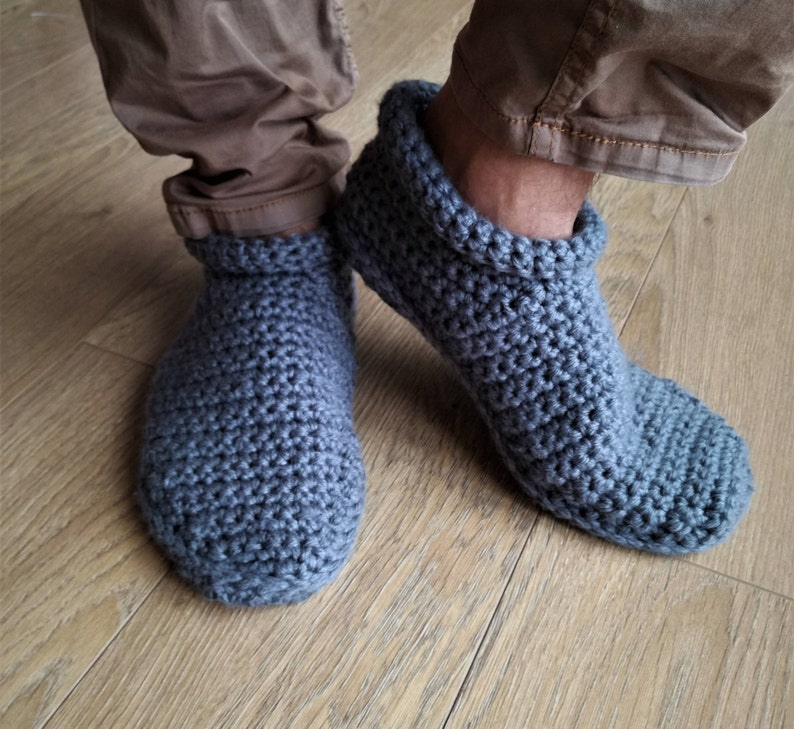 db96bea74f80b Crochet Men slippers with non slip waterproof sole , Leg Warming, Cozy Knit  Natural Wool Yarn Slippers for Men with Non Slip Sole