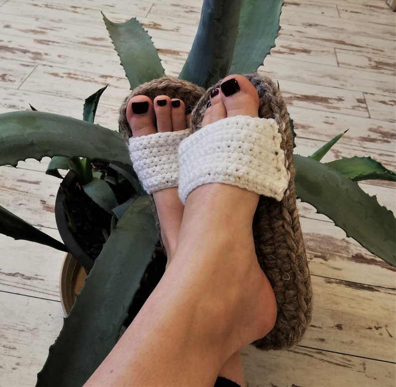 b5a06e7820aa3 Crochet summer outdoor flip flops with rubber soles / Summer slippers /  rubber soles / women summer slippers / sauna slippers / loafers