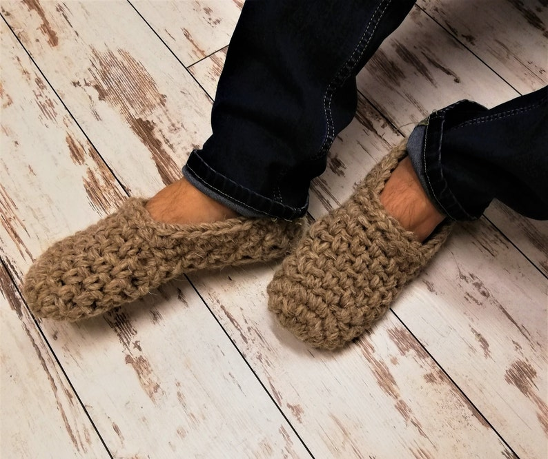dae822cf83f4b EXTRA THICK yarn Crochet slippers for men with non slip sole/FREE  shipping/extra chunky wool yarn/men slippers/boots/crochet wool slippers