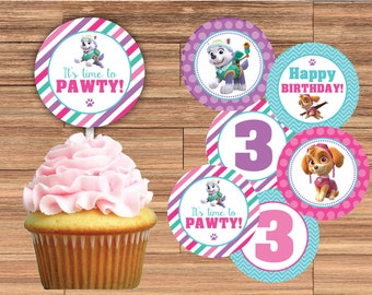 Paw Patrol SKYE And EVEREST Cupcake Toppers 2 Inch Or 25 Printed Fully Assembled