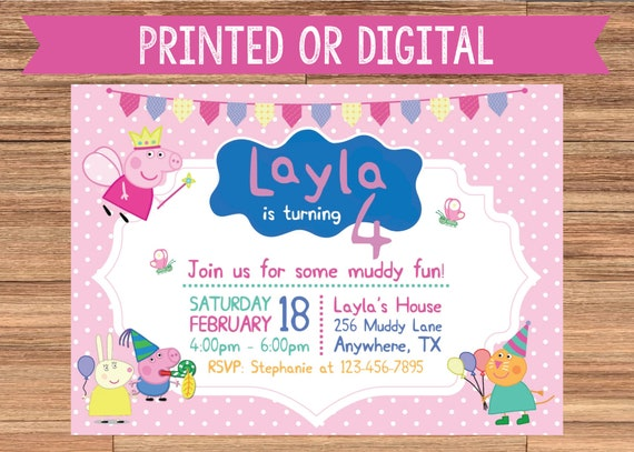 Peppa Pig Printed Or Digital Birthday Party Invitation