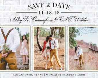 SAVE THE DATE Invitation Announcement   3 Photos   3 Background Options   Digital File, Print at Home.