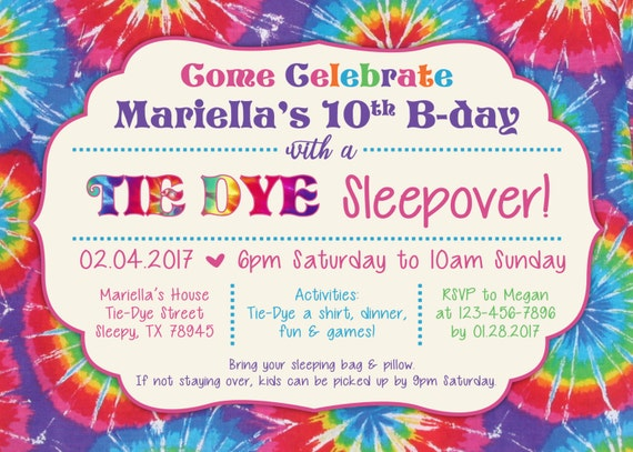 tie dye party invitation tie dye sleepover digital file etsy