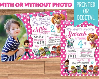 GIRL PAW PATROL Digital or Printed Skye Pink Polka-dot Birthday Party Invitation with or without Photo!