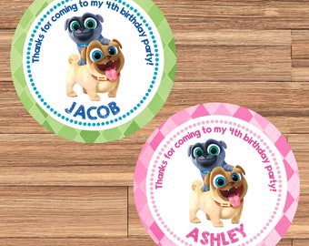 PUPPY DOG PALS Digital or Printed Birthday Party Personalized Stickers for Gift Bag, Party Favors, Birthday Stickers