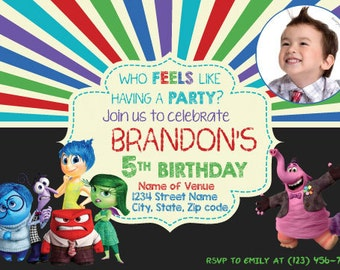 Inside Out Theme Invitation with Photo! Who FEELS like having a PARTY?