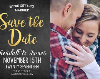 SAVE THE DATE Invitation Announcement with Gold Foil Font & Photo!  Digital File, Print at Home.