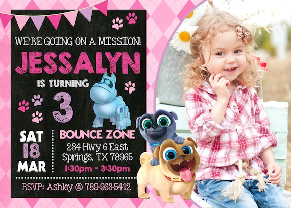 Girl Puppy Dog Pals Birthday Party Invitation With Photo Etsy