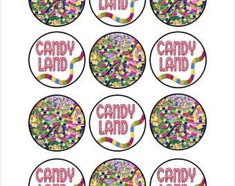 Edible Candy Land Themed Cupcake Cookie Toppers