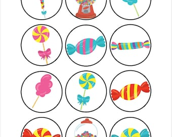 Edible Candy Themed Cupcake Cookie Toppers
