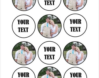 Edible Custom Photo and Text Cupcake Cookie Toppers