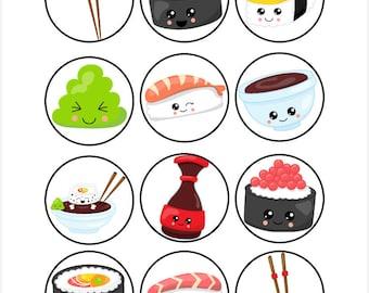 Edible Kawaii Sushi Themed Cupcake Cookie Toppers