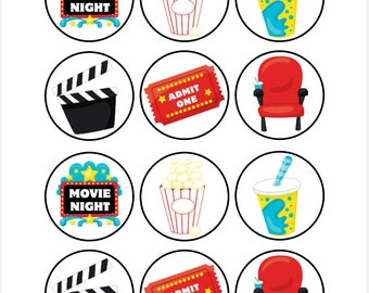 Edible Movie Night Themed Cupcake Cookie Toppers