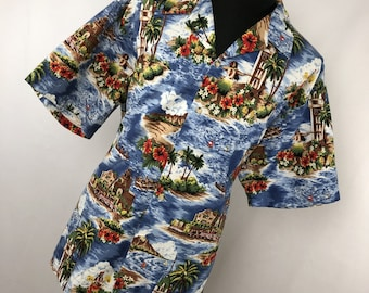 788d0714 Vintage 80's RJC Hawaiian Shirt Mens Adult 3XL Button Down Front Island Floral  Flower Blue Red S/S S1