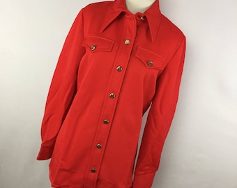 50e42243f7799e Vintage JcPenney Fashions Red Shirt S Small Gold Crest Button Down Front  Wide Collar 70's S1