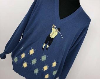 b63e7cc80 Vintage Pringle Of Scotland Sweater XL Blue Embroidered Golf Player Sports  H6