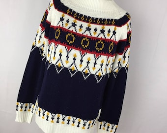 Vintage Women's Nordic Ski Sweater Crew Mock Turtleneck Cream Blue Red Yellow JcPenney S Small H9