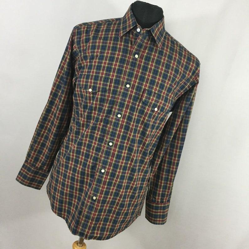 5531a220 Vintage Wrangler Mens Shirt M 15.5 15 1/2 34 Pearl Snap Red   Etsy
