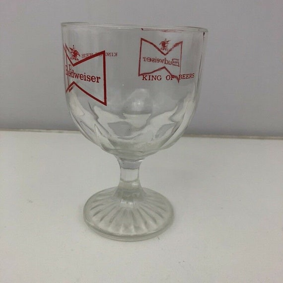 Budweiser Beer Thumbprint Glass Red Bow Tie Goblet Chalice Heavy Glass