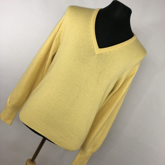 Capper By Ballantyne Pure Cashmere Mens Sweater Yellow V Neck Made In Scotland L Large R6