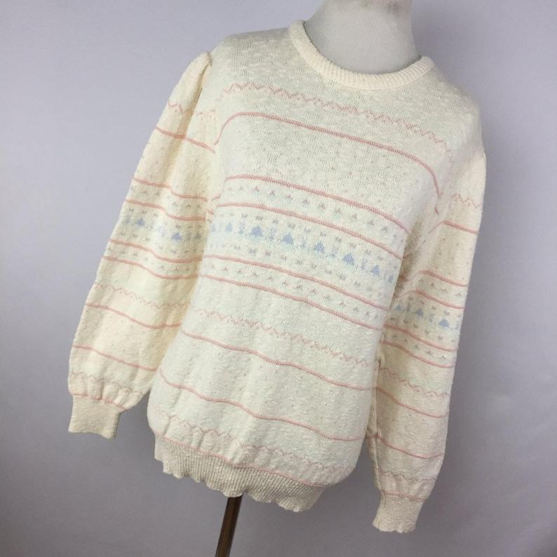 Vintage Amana Fairy Kai Sweater Small S Crewam Pink Heart Flower Floral Gather Pucker Shoulder Womens H4