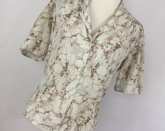 Vintage Jonathan Martin M Medium Shirt Top Blouse Brown Gray Floral Flower Pearl Button Front L3
