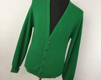 f7e14969e707f Vintage Puritan Cardigan L Large Green V Neck Button Front Long Sleeve Classic  Mens L3