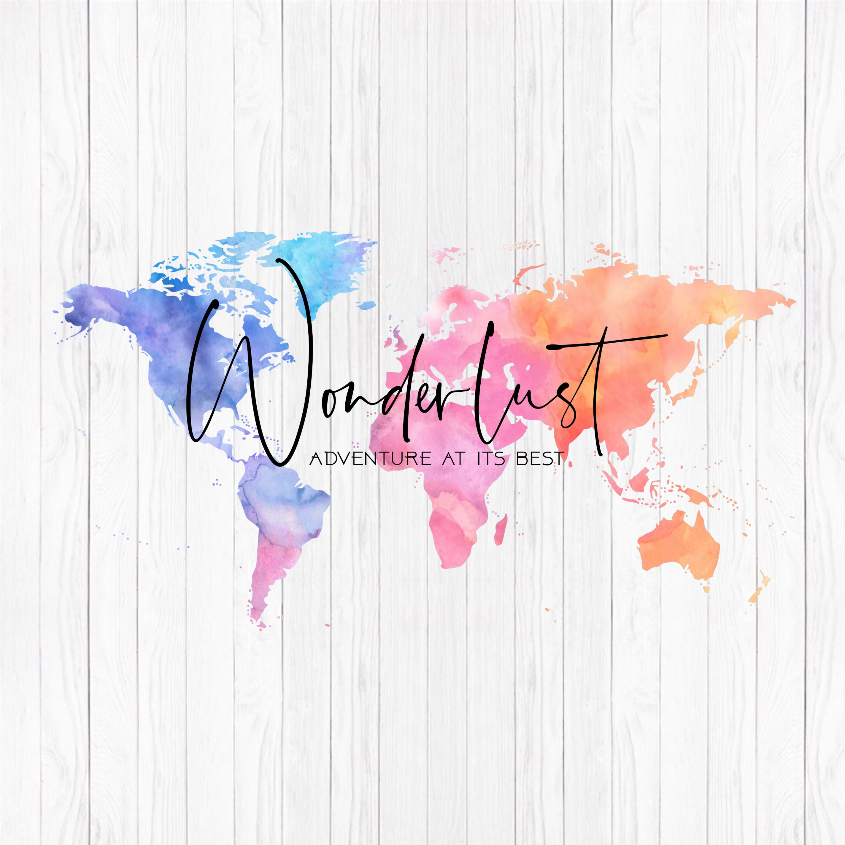 World Map Watermark.Wonderlust World Map Logo With Watercolor Effect Matching Etsy