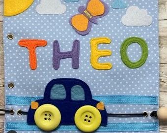Gift idea for children's birthday.                    Customizable page for Awakening book, Quiet book in fine motor felt