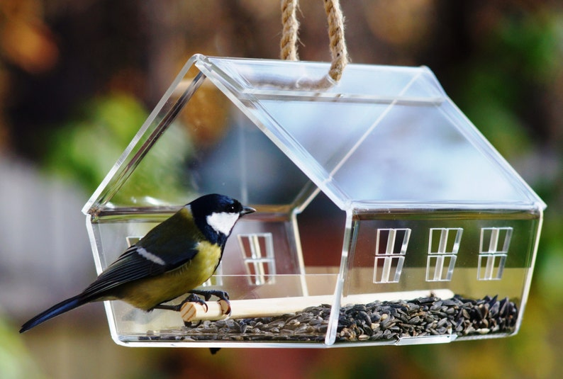 Bird feeder house Modern bird feeder Garden decor Garden image 0