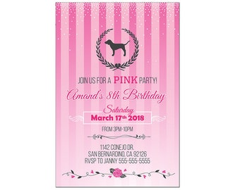 Set Of 10 Personalized Birthday Invitaton Cards Victoria Secret Love Pink Digital Download Available