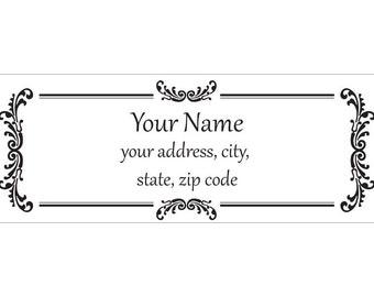 Set of 30 Personalized Return Address Labels vintage look pattern