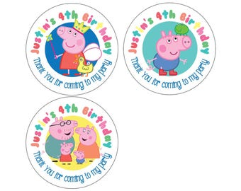 Set of Personalized Birthday Party Girl Boy peppa pig Stickers for Hershey kiss stickers goody bag lollipop candy decal