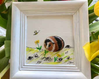 Christmas gift, customizable, stone picture painted with oil paint, birthday, brown-black guinea pig feeds dandelion, handmade
