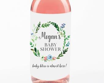 Mini Wine Bottle Labels Baby Shower//Favor