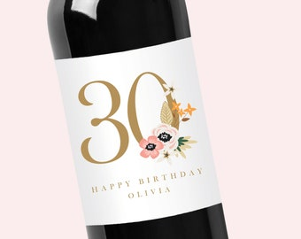Custom Birthday Mini or Large Wine and Champagne Label for Any Year
