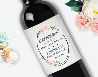 Bridal Shower Wine Label / Bridal Brunch Wine Label / Personalized Wine Label